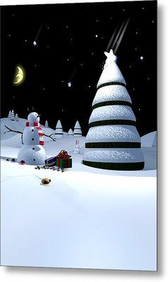 Holiday Falling Star Metal Print by Cynthia Decker