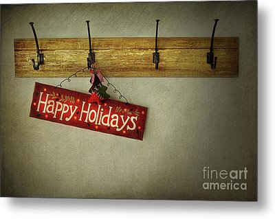 Holiday Sign On Antique Plaster Wall Metal Print by Sandra Cunningham