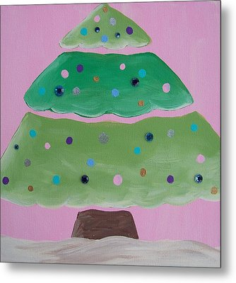 Holiday Tree With Pink Metal Print by Tracie Davis
