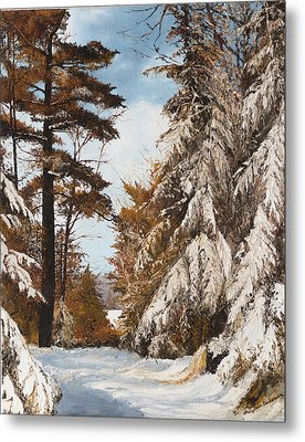 Holland Lake Lodge Road - Montana Metal Print by Mary Ellen Anderson