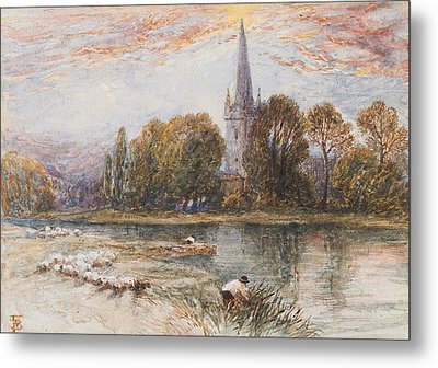 Holy Trinity Church On The Banks If The River Avon Stratford Upon Avon Metal Print by Myles Birket Foster