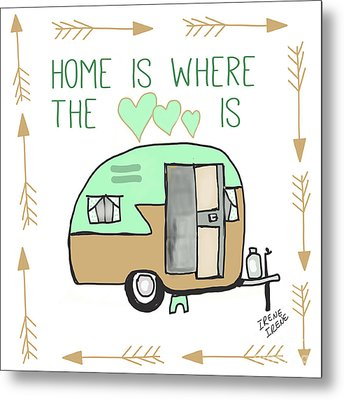 Home Is Where The Heart Is Campling Trailer Vintage Metal Print by Irene Irene