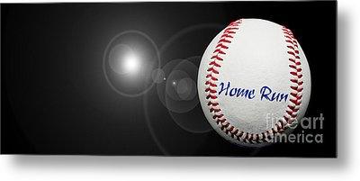 Home Run - Baseball - Sport - Night Game - Panorama Metal Print by Andee Design