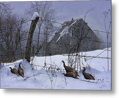 Home Through The Snow Metal Print by Ron Jones