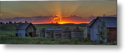 Home Town Sunset Panorama Metal Print by Mark Kiver