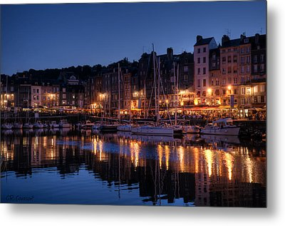 Honfleur At Night Metal Print by CR  Courson