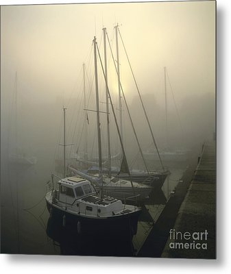 Honfleur Harbour In Fog. Calvados. Normandy Metal Print by Bernard Jaubert