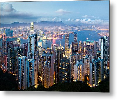 Hong Kong At Dusk Metal Print by Dave Bowman