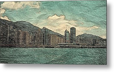 Hong Kong Harbor Sketch Metal Print by Pamela Blayney