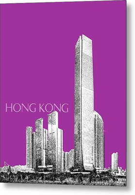 Hong Kong Skyline 2 - Plum Metal Print by DB Artist