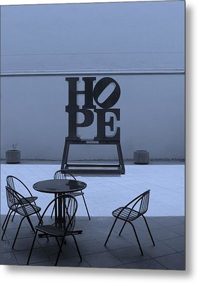 Hope And Chairs In Cyan Metal Print by Rob Hans