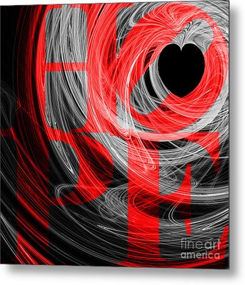 Hope Fractal Heart 20130710 V2b Metal Print by Wingsdomain Art and Photography