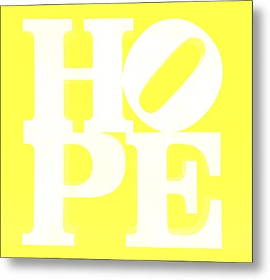Hope Inverted Yellow Metal Print by Rob Hans
