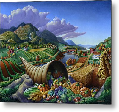 Horn Of Plenty - Cornucopia - Autumn Thanksgiving Harvest Landscape Oil Painting - Food Abundance Metal Print by Walt Curlee