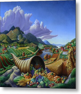 Horn Of Plenty Farm Landscape - Bountiful Harvest - Square Format Metal Print by Walt Curlee