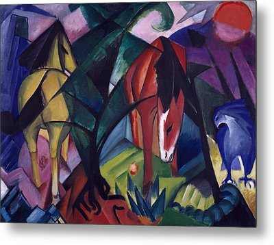 Horse And Eagle Metal Print by Franz Marc