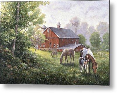 Horse Barn Metal Print by John Zaccheo