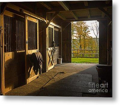 Horse Barn Sunset Metal Print by Edward Fielding