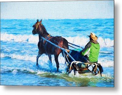 Horse Drawn Carriage In The Ocean Digital Art Metal Print by Vizual Studio