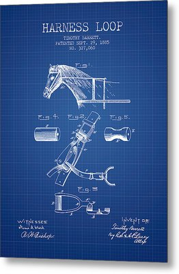 Horse Harness Loop Patent From 1885 - Blueprint Metal Print by Aged Pixel