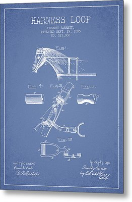 Horse Harness Loop Patent From 1885 - Light Blue Metal Print by Aged Pixel