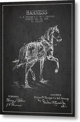 Horse Harness Patent From 1885 - Charcoal Metal Print by Aged Pixel