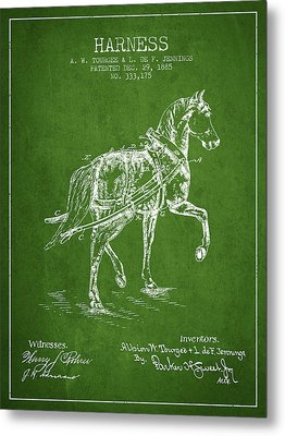 Horse Harness Patent From 1885 - Green Metal Print by Aged Pixel