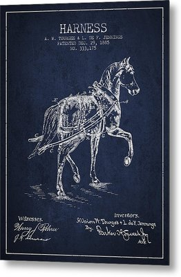 Horse Harness Patent From 1885 - Navy Blue Metal Print by Aged Pixel