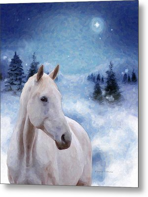 Horse In Winter Metal Print by Kenny Francis