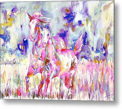 Horse Painting.16 Metal Print by Fabrizio Cassetta