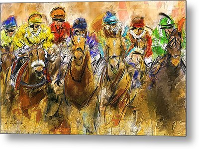 Horse Racing Abstract Metal Print by Lourry Legarde