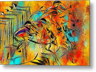 Horse Racing Colorful Abstract  Metal Print by Lourry Legarde