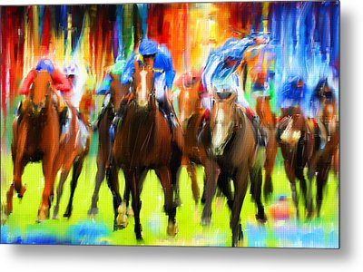 Horse Racing Metal Print by Lourry Legarde