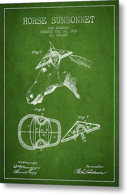 Horse Sunbonnet Patent From 1870 - Green Metal Print by Aged Pixel