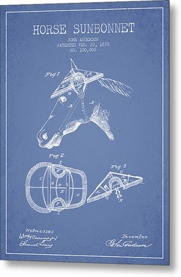 Horse Sunbonnet Patent From 1870 - Light Blue Metal Print by Aged Pixel