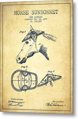 Horse Sunbonnet Patent From 1870 - Vintage Metal Print by Aged Pixel