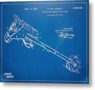 Horse Toy Patent Artwork 1953 Metal Print by Nikki Marie Smith