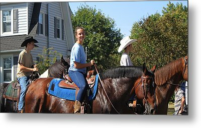 Horseback Riders Metal Print by Carolyn Ricks