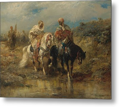 Horsemen At A Watering Hole Metal Print by Celestial Images