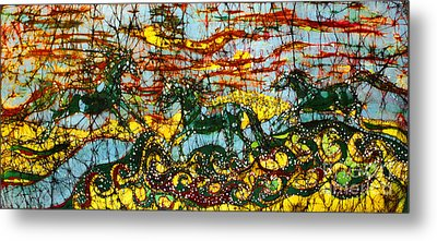 Horses Frolic Above The Sea Metal Print by Carol Law Conklin