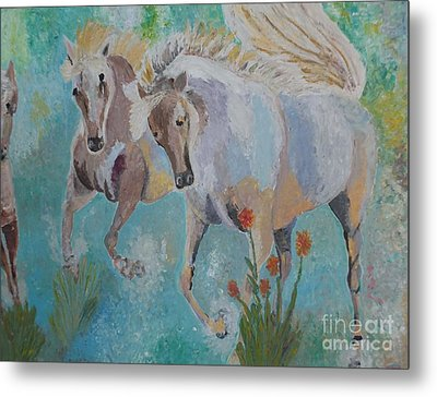 Horses From Camargue 2 Metal Print by Vicky Tarcau