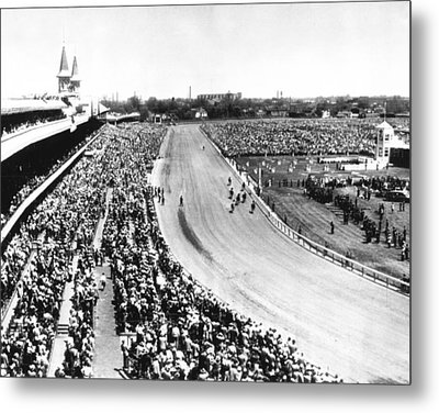 Horses In Action At Vintage Churchill Downs Race Metal Print by Retro Images Archive