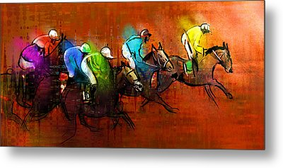 Horses Racing 01 Metal Print by Miki De Goodaboom