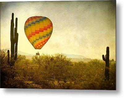 Hot Air Balloon Flight Over The Southwest Desert Fine Art Print  Metal Print by James BO  Insogna