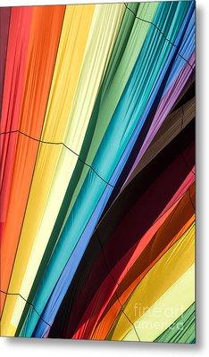 Hot Air Balloon Rainbow Metal Print by Edward Fielding