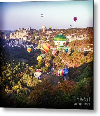 Hot Air Balloons Rocamadour Metal Print by Colin and Linda McKie
