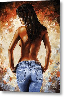 Hot Jeans 02 Blue Metal Print by Emerico Imre Toth