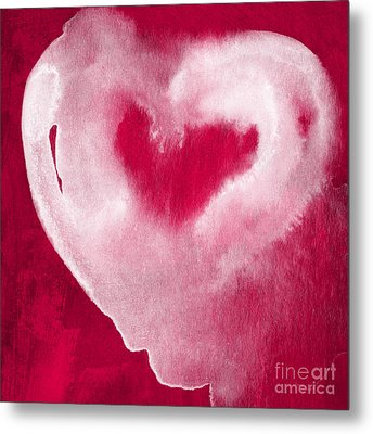 Hot Pink Heart Metal Print by Linda Woods