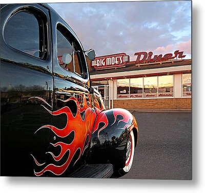 Hot Rod At The Diner At Sunset Metal Print by Gill Billington