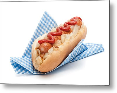 Hotdog In Napkin Metal Print by Amanda And Christopher Elwell